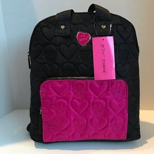 Betsy Johnson pink and black quilted backpack